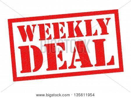 WEEKLY DEAL red Rubber Stamp over a white background.