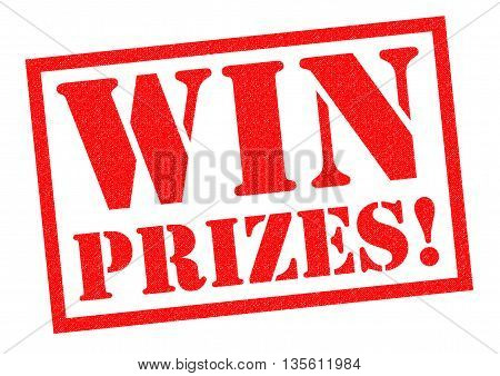 WIN PRIZES! red Rubber Stamp over a white background.