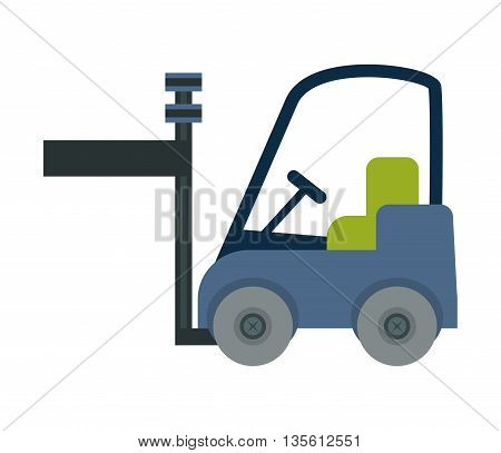 Delivery and shipping concept represented by forklift icon over isolated and flat background