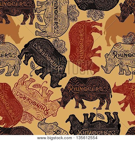 Vector seamless pattern with rhinoceros. Can be used for wallpaper pattern fills web page background surface textures.