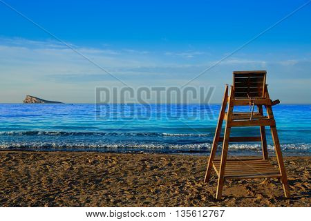 Benidorm Poniente beach watchtower seat in Alicante Mediterranean of Spain