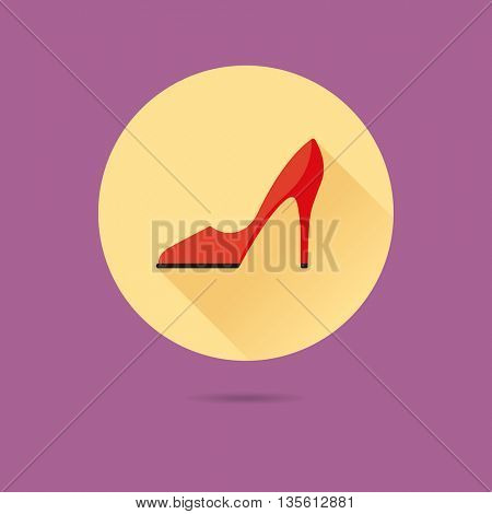 red stiletto high heel shoe flat design long shadow vector icon
