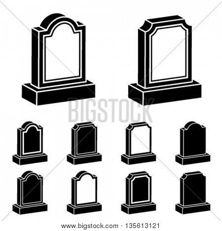 3d tombstone black symbol vector