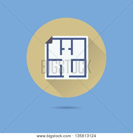 floor plan blueprint flat design long shadow vector icon