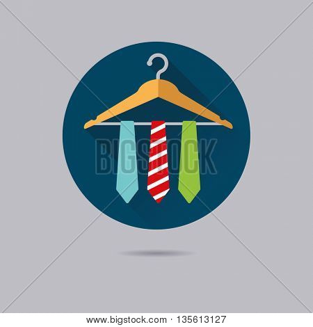 three ties on coat hanger flat design long shadow vector icon