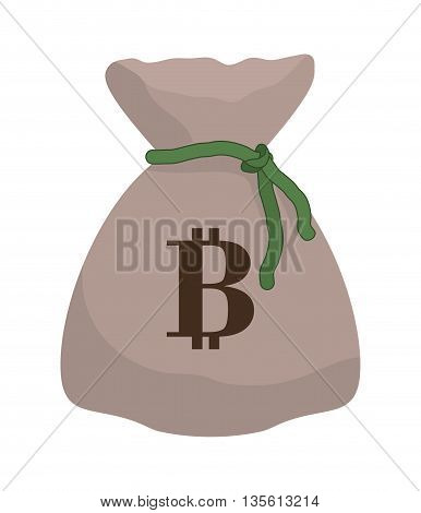 Bitcoin concept represented by money bag icon over isolated and flat background