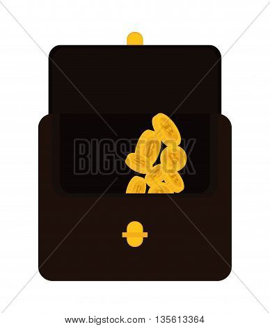 Bitcoin concept represented by coin and suitcase icon over isolated and flat background