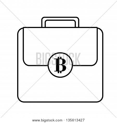 Bitcoin concept represented by suitcase icon over isolated and flat background