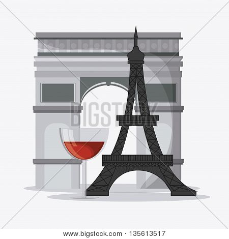 France represented by  eiffel tower, arch of trumph and wine glass design over isolated and flat illustration
