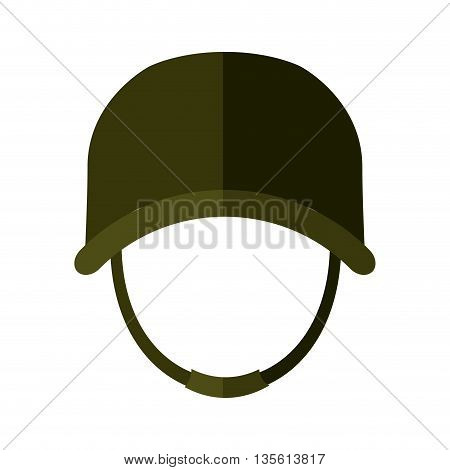 Armed forces concept represented by helmet icon over isolated and flat background