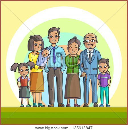 Big Happy Asian Cartoon Family. Parents with Children. Father mother, children with grandpa and grandma. Kids with parents and grandparents.