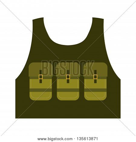 Armed forces concept represented by jacket icon over isolated and flat background