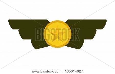 Armed forces concept represented by medal icon over isolated and flat background