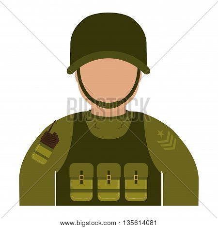 Armed forces concept represented by soldier icon over isolated and flat background