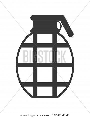Armed forces concept represented by grenade icon over isolated and flat background