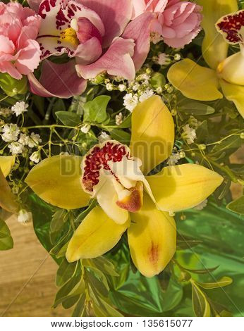 Floral bouquet of yellow and pink  orchids. Yellow orchid flower. Beautiful yellow orchid