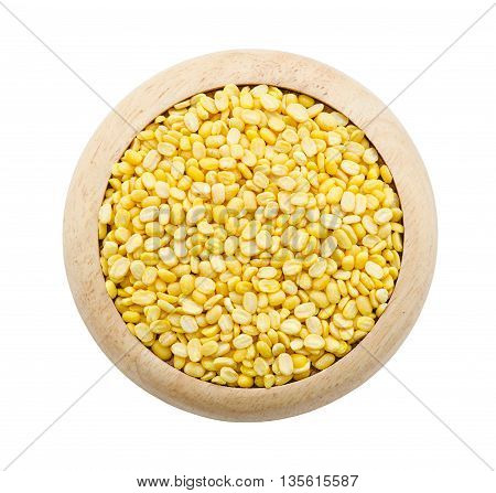 pile of skinless mung bean in wooden dish isolated on white background Saved clipping path.