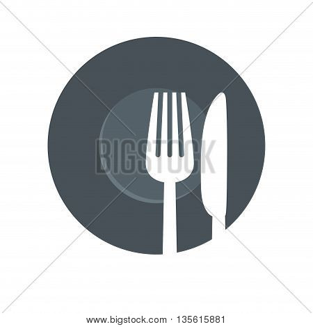 Cutlery and menu concept represented by fork and knife icon over isolated and flat background