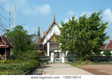 SAMUT SAKHON,THAILAND-DECEMBER 11,2010 : Here there is Wat Khok Kham an old chapel building that was once visited by King Rama 4.The gable of the chapel has a wooden engraving , Samut Sakhon Province,Middle of Thailand.