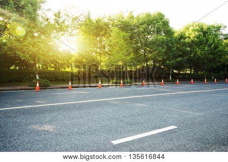 empty rural asphalt road at sunrise