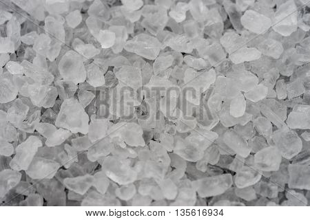 close up white crystals sea salt top view