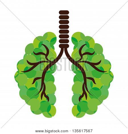 Think green concept represented by abstract lungs icon over isolated and flat background