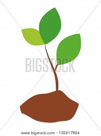 Think green concept represented leaf eco icon over isolated and flat background
