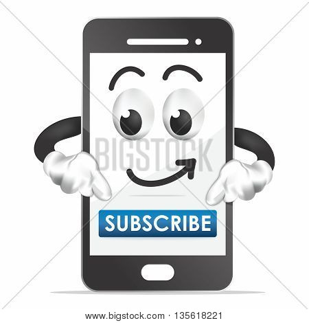 Vector Cheerful Cartoon Smartphone Character, isolated on white background with subscribe button