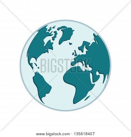 Earth concept represented by planet with continents icon over isolated and flat background