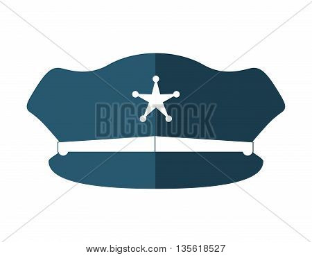 Justice and law represented by hat of policeman over isolated and flat background