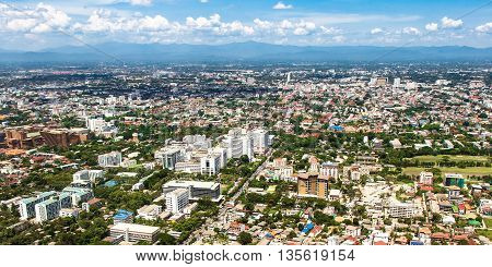 Aerial view from plane of Chiang Mai City Thailand