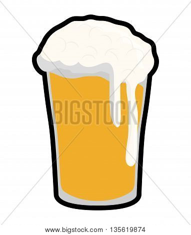 beer beverage concept represented by glass icon over isolated and flat background