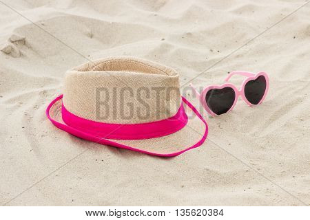 Sunglasses And Straw Hat On Sand At Beach, Sun Protection, Summer Time