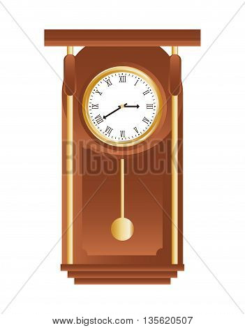 Time concept represented by traditional clock of wood icon over isolated and flat background