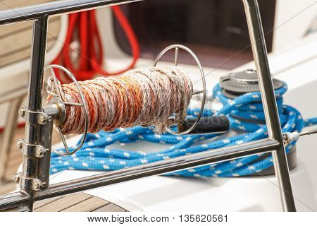 Yachting Thick rope on deck of yacht detail of boat