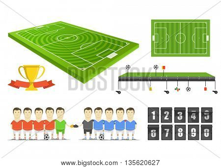 Soccer match infographic elements clip-art