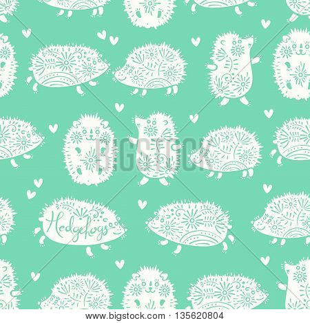 Seamless pattern with decorative hedgehogs. Cute kids background. Vector illustration.