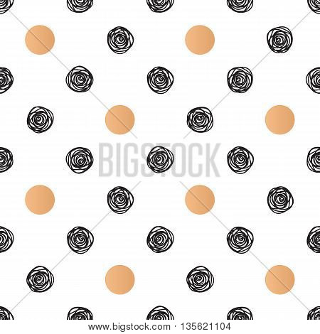 Seamless pattern with polka dot and stylish doodle. Casual texture. Vector illustration.
