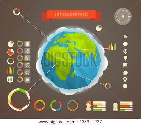 Infographic elements template. Statistic information of different countries