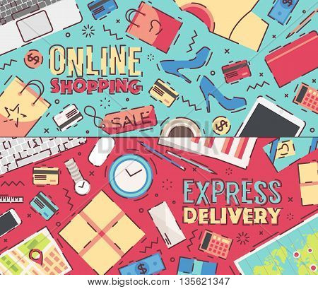Set of flat vector design illustrations of modern business office and workspace. Concept illustrations for online shopping, delivery service