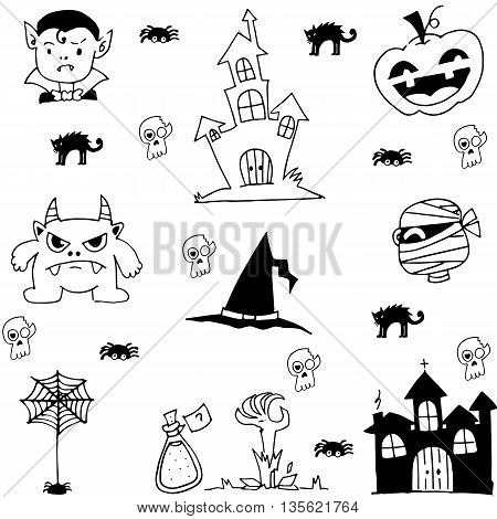 Scary element halloween in doodle vector illustration