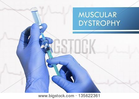 Stop muscular dystrophy. Syringe is filled with injection. Syringe and vaccine