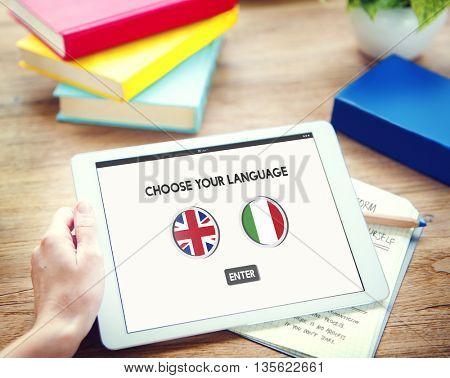 Language Dictionary English Italian Concept