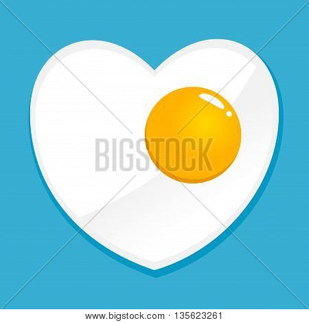 Vector stock of simple heart shaped fried egg illustration