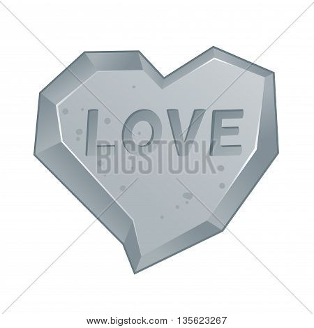Vector stock of heart shaped stone carved rock illustration
