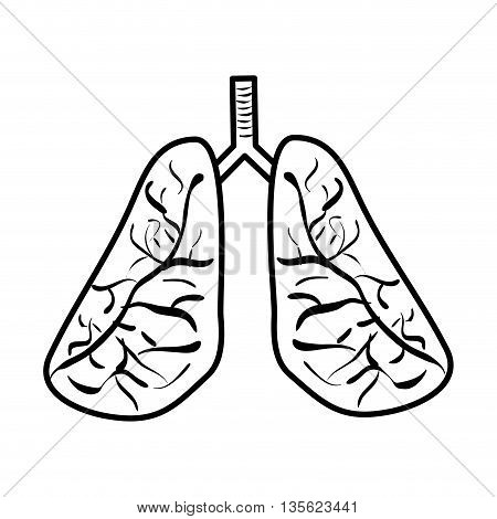 Medical cand Heatlh care concept represented by Lungs icon over flat and isolated background