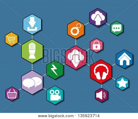 Social Media represented by icon set of hexagon of  multimedia apps . Colorfull and flat background
