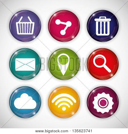 Social Media represented by icon set of buttons multimedia apps . Colorfull and flat background