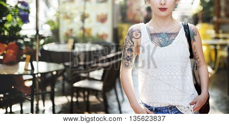 Tattoo Cheerful Asian Ethnicity Calm Casual Concept