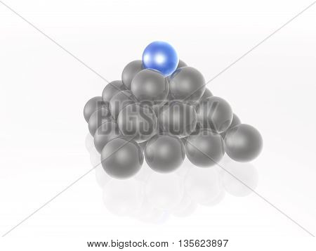 Blue and grey spheres in the pyramid on white, 3D illustration.